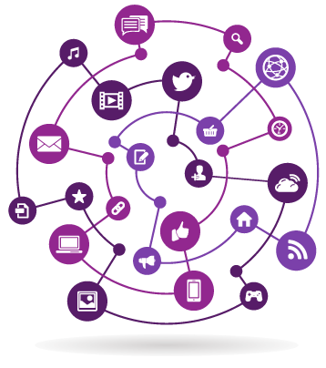 Rendering of different digital media marketing icons connected in a circular web structure
